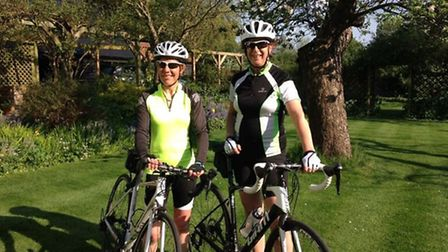 Berry Sharp (right) and Amanda Gover, who will ride 100km through London at night for three cancer c