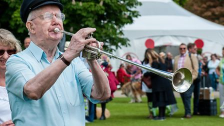 Jack Doughty, from Stansted, plays his trumpet