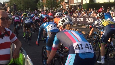 Turning into Basils Road on the Pearl Izumi Tour Series in Stevenage Old Town.