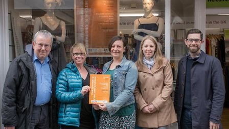 Hitchin town centre manager Keith Hoskins, Dr Kay Miller of the Dr Hawden Trust, Rhythms chair Amy H