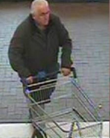 Police wish to speak to this man in relation to a series of thefts at Tesco in Sandy during May.