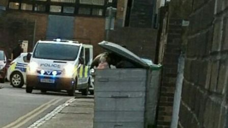 Police - pictured at the scene in Market Place, Stevenage - have confirmed that a 43-year-old man di