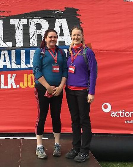 Rachel Browning and Naomi Parkinson after their 29-hour charity trek for the MS society.