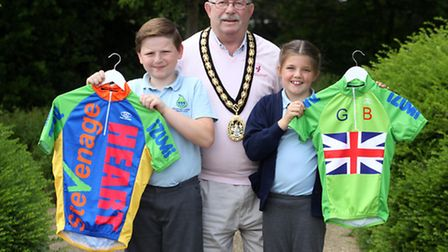 Competition winners, George Francis and Amber Harris with Mayor Howard Burrell