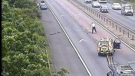 M11 crash being cleared. Picture: Highways England