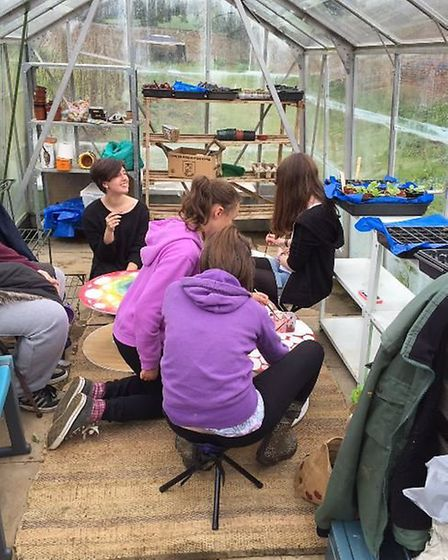 Even on a wet day there is plenty to do at the Within The Walls Garden Project near Whitwell.