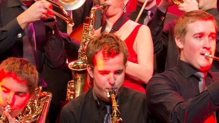 The eight-piece line-up of Five Star Swing, at the Queen Mother Theatre in Hitchin on June 2