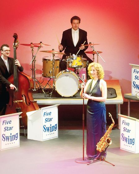 The 11-piece line-up of Five Star Swing, at the Queen Mother Theatre in Hitchin on June 2