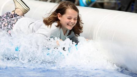 One of the many happy faces on the Letchworth water slide on Saturday.
