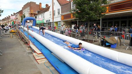Letchworth giant water slide Letchworth Town Centre Takeover