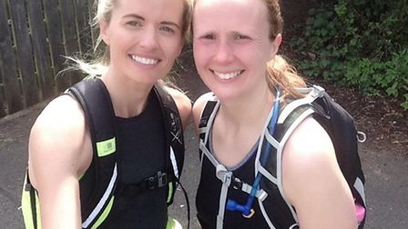 Amy-Jo Simpson (left) and Lindsay Smith, who are taking on the London to Cambridge challenge