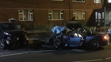 The aftermath of the late night crash in Queen Street, Hitchin. Picture: Caroline Dennehy.
