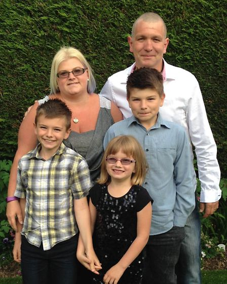 Greig Langdon, 42, with his wife Lynsey, 39, and children Jack, 12, Harry, nine, and six-year-old Is