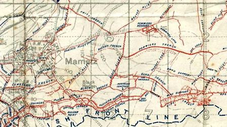 A map of the Mametz area of the Somme battlefield where Lance-Corporal Edward Croft, from Letchworth
