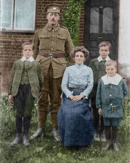 Private (later Lance-Corporal) Edward Croft with his wife Sarah and three sons Arthur, Earnest and H