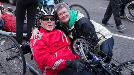 Fundraiser Dave Ralph with his wife Debbie before he set off.