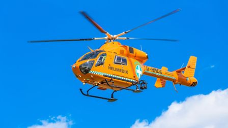 A Magpas air ambulance landed in a village near Stevenage this morning after a tree surgeon was seri