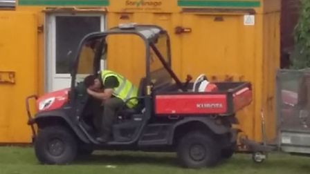 An eagle-eyed resident appears to have caught Stevenage Borough Council workers napping on the job.