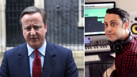 Chris Hollis (right) used Prime Minister David Cameron's humming outside 10 Downing Street for inspi