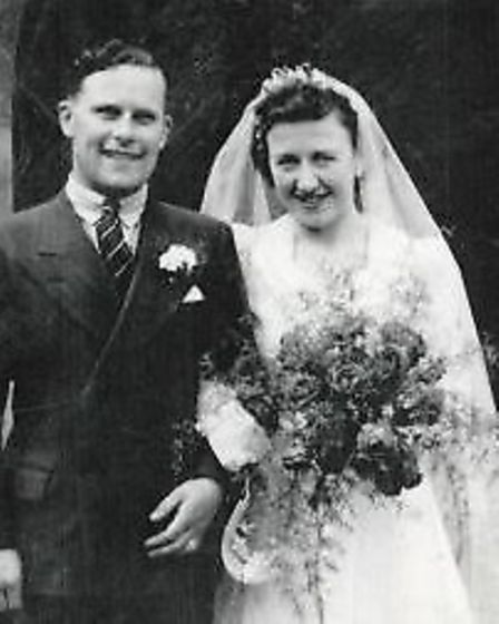 William and Joan Barker on their wedding day at St Mary's Church in Graveley 70 years ago.