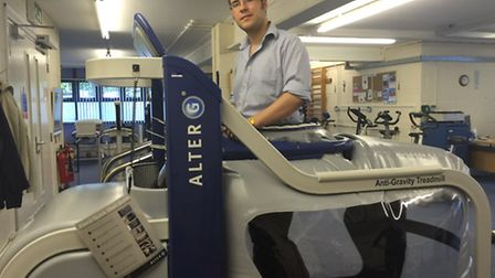 Comet journalist JP Asher tries out the anti-gravity treadmill at the Herts MS Therapy Centre in Let