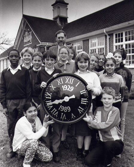 Wilshere-Dacre's new clock face from 1989 with then head David Guess.