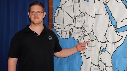 Greenside School sports coach Rob Grundy with the map of progress as staff and students at Greenside