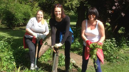 Left to right: Donna Thowney, Lisa King and Joanna Reeve working at the Gardens of Easton Lodge