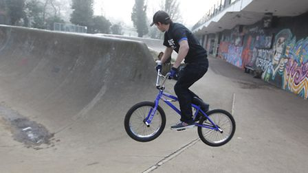 Bikers in action at Bowes Lyon skate park