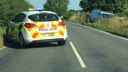 Police at the scene of the crash on the B656 not far from Langley. Picture: Gary Sanderson