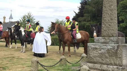 The horse blessing service at St Ippolyts Church on Sunday.