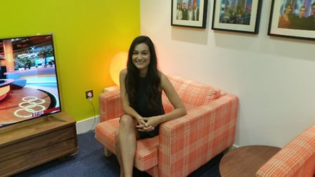 Stevenage's Kelly Oliver in the BBC green room ahead of an appearance on Sunday Morning Live.