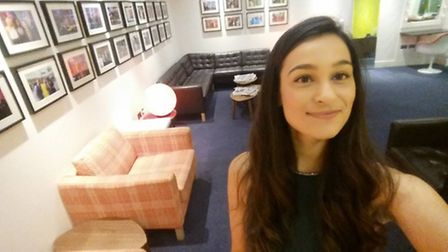 Kelly Oliver takes a selfie in the BBC green room ahead of her performance on Sunday Morning Live
