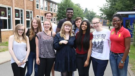 Students at the Thomas Alleyne Academy in Stevenage celebrate on A-level results day.