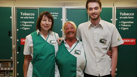 Morrisons kiosk staff Anita Amey, Mary Gates who is retiring after 17 years of service and Connor Pa