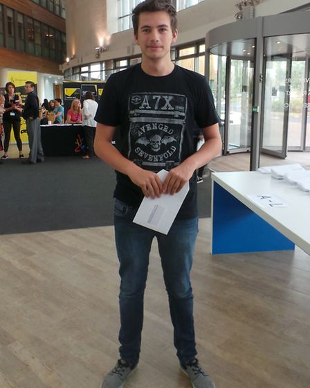 North Herts College students collecting their GCSE results this morning.