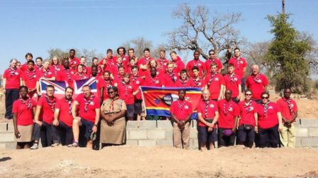 The British and Swazi scouts on site with the Swaziliand Scouting International Commissioner.