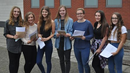 Samuel Whitbread Academy students collecting their GCSE results this morning.