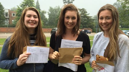 JHN students Leah Dillinger, Cally Bateman and Finty Bateman with their A-level results.
