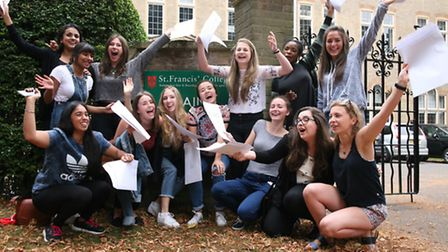 Girls celebrate at St Francis' College in Letchworth.
