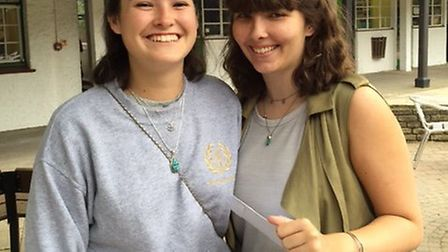 Sasha Hammond and Lili Cox of St Christopher School in Letchworth with their A-level results.