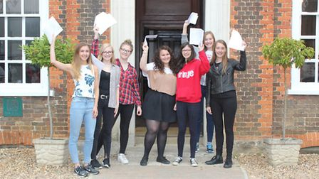 Girls from Princess Helena School in Preston receive their A-level results.