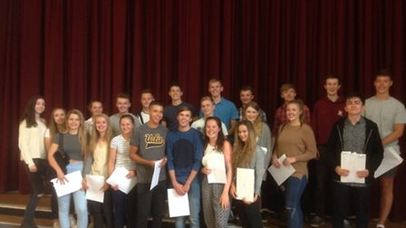 Knights Templar students with their A-level results.