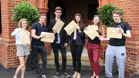 Students are happy with their A-level results at Friends' School