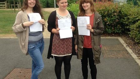 Marriotts students Rachel Brown, Heather Moss and Hannah Todd celebrating their success.