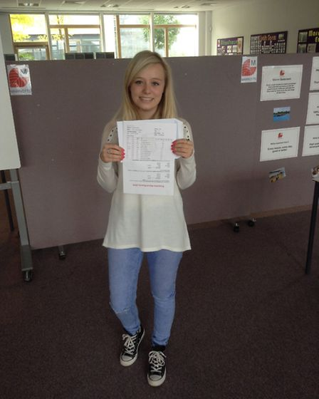 Marriotts head girl Amy Williams with her A-level results.