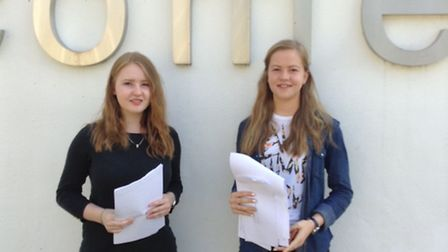 Tess and Catherine Bordoni from The Barclay School bagged 20 good GCSEs between them including six A