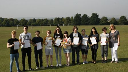 Fearnhill School head Liz Ellis, far right, with top-performing students on GCSE results day.