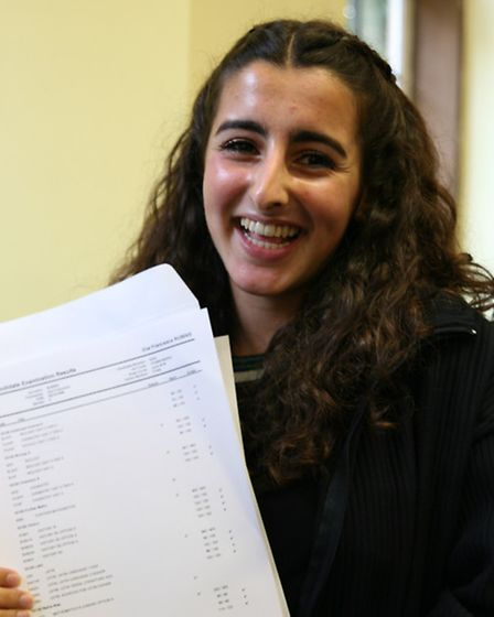 St Francis' College pupil Zoe Rubins, who got 13 A*s in her GCSEs.