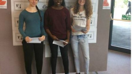 Marriotts School's Kate Brown, Ginger Polo and Erin Randall with their GCSE results.